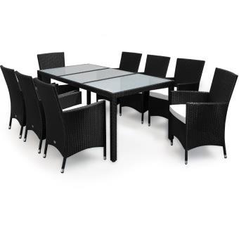 Salon de jardin polyrotin 17 pcs - 8 chaises 1 table - Noir - verre ...