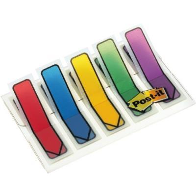 Post-it étui transparent pour notes dindex 11,9 x 43,2 mm avec 5 blocs de 20 notes (rouge bleu jaune vert violet)