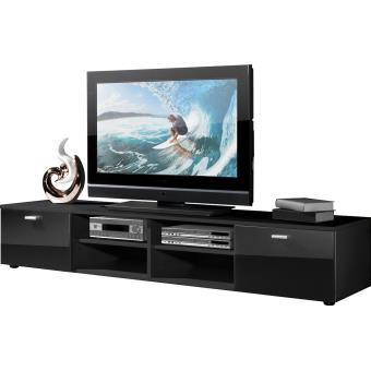 Meuble Tv En Bois Coloris Noir Avec 4 Compartiments Et 2 Portes L