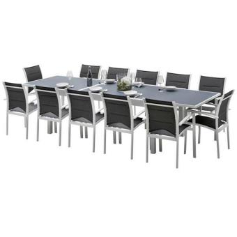 Ensemble table et chaises de jardin MODULO 12 PLACES BLANC/GRIS ...