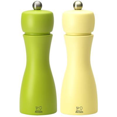 Peugeot - Duo de moulins à poivre et à sel manuels en bois couleur pomme granny et paille 15 cm