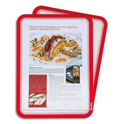 Sachet de 2 Pochettes Magneto cadre rouge A4 dos magnétique L24,2 x H32,9 cm