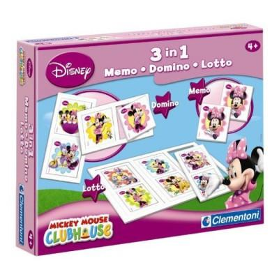 Clementoni - Coffret jeux 3 en 1 : Minnie : Memo, Domino, Loto