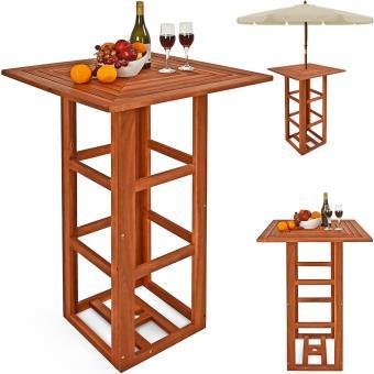 Table de bar carré en bois d\'acacia 75x75x110cm avec trou ...