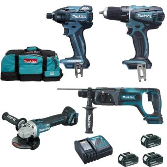 makita pack 4 outils li ion 18v 5ah lxt dlx4062tx1 packs machines outils achat prix fnac. Black Bedroom Furniture Sets. Home Design Ideas