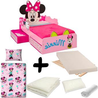 Pack Complet Lit Design Minnie Tiroirs Disney Lit Matelas Parure