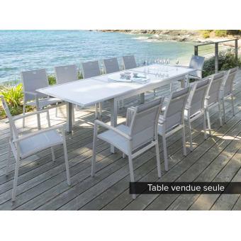 Table extensible rectangulaire Azua 8/12 places Gris mat - Hespéride ...