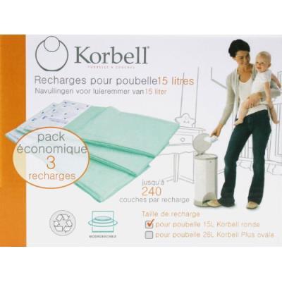Korbell recharges pour la poubelle à couches korbell standard 15l - pack de 3