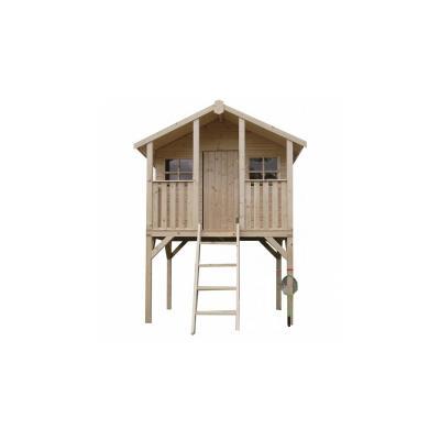 La maisonnette 'Playhouse II' de Solid est une grande maison d'enfants fermée en bois, idéale pour qu'ils y créent leur monde imaginaire. Surélevée et accessible grâce à une échelle, elle leur donne l'impression d'être dans leur propre cabane et leur perm