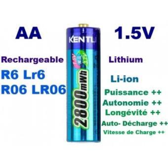 1 pile rechargeable 1 5v aa lithium ion li ion 2800mwh kentli ph5 r6 r06 lr6 lr06 chargeur de. Black Bedroom Furniture Sets. Home Design Ideas