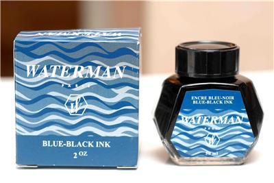 Flacon d'encre bleue noire