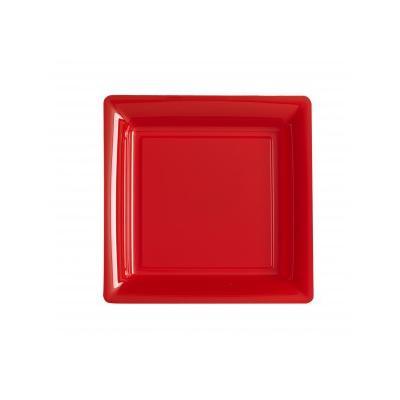 12 Assiettes Carrées En Plastique Rouge 29 X 29 Cm