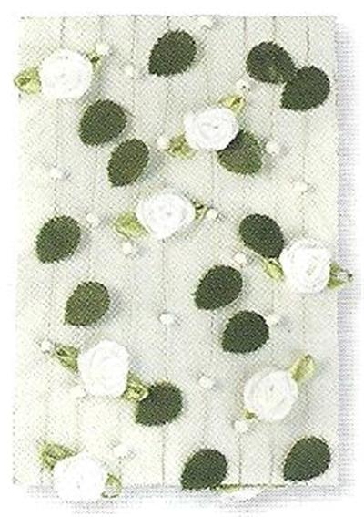 Guirlande de roses av. feuilles + perles - Blanc