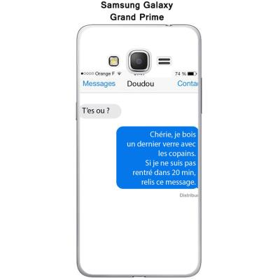 Coque Samsung Galaxy Grand Prime Texto T'es ou