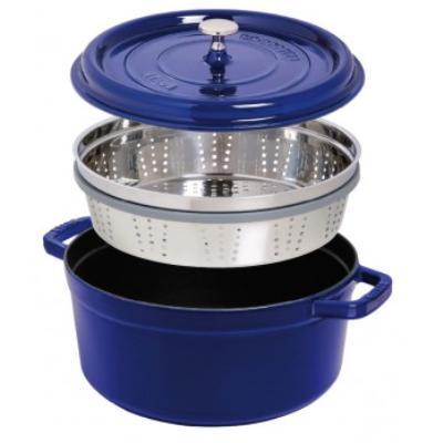 Cocotte ronde avec cuit-vapeur Staub - 1133806 - Fonte - Ronde - 26 cm - Cerise