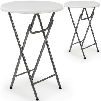 2 x Table haute pliable - Table de bar pliante en MDF blanc ...
