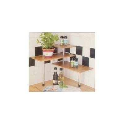 mini etagere d'angle en bois de bambou pour ustensiles et epices de cuisine