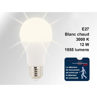 Ampoule à LED 12 W/E27 avec détecteur d'obscurité et de mouvement blanc chaud