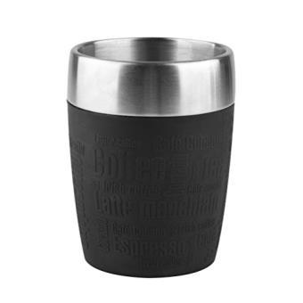 Emsa 514514 reismok geïsoleerde mok mok met deksel coating silicone 200ml zwart