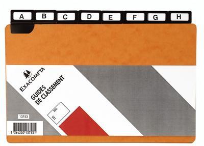 Guide Exacompta alphabétique pour boîte à fiches 210x135mm et 210x148mm