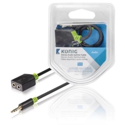 Câble répartiteur audio stéréo, 3,5mm mâle vers 2femelles, 0,20m, gris könig