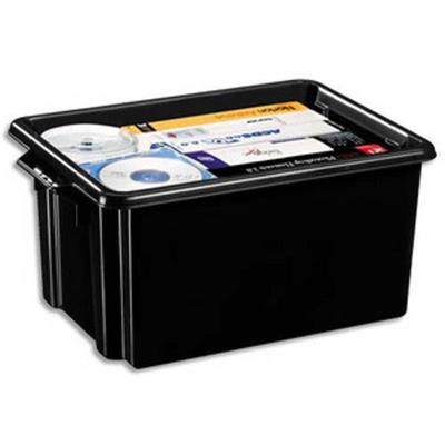 Bac de rangement superposable avec poignée de 32 litres coloris noir