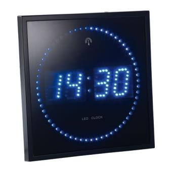 10 14 sur horloge digitale murale avec 60 led radiopilot e bleu pendule ou horloge top. Black Bedroom Furniture Sets. Home Design Ideas