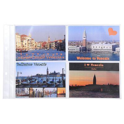 Exacompta 96016E Sachet de 10 Pochettes Perforées pour Classeur de Cartes Postales Plastique Blanc 38,5 x 24,5 x 0,4 cm