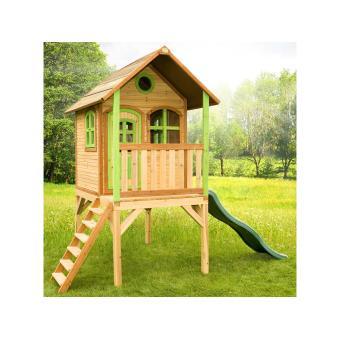 Cabane enfants laura en c dre vernis naturel maison de - Maison d enfant pour jardin ...