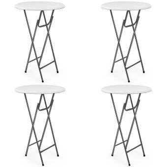 4 x table haute pliable table de bar pliante en mdf blanc aspect de bois mobilier de jardin. Black Bedroom Furniture Sets. Home Design Ideas