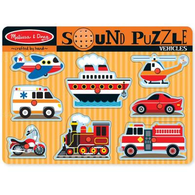 Puzzle avec sons des vehicules 8 pièces jeu éveil éducatif pour enfants 2 ans +