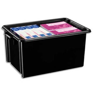 Bac de rangement superposable avec poignée de 48,5 litres coloris noir