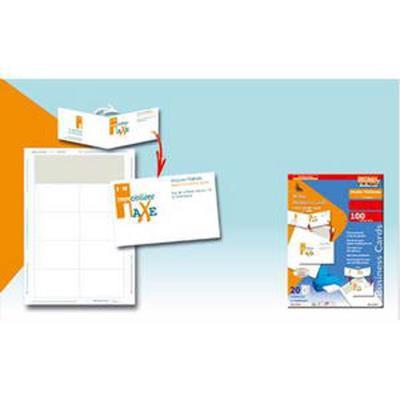 Pochette de 60 cartes de visite, Format 12,8 x 8,2 cm, 200 grammes, coloris blanc, coins carrés