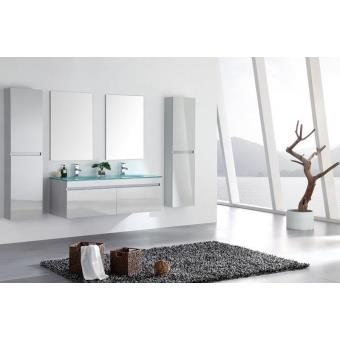 Meuble salle de bain double vasque avec colonnes blanc laqué