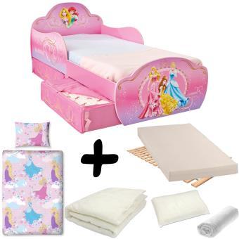 Pack complet Lit design avec tiroirs Princesse Disney = Lit+Matelas ...
