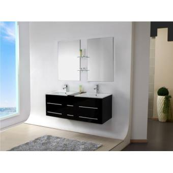 Meuble salle de bain double vasque bois massif noir, 140 cm, SAM ...