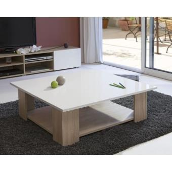 Lime Table Basse Carree Col Chene Blanc Laque Achat Prix Fnac