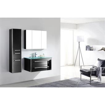 meuble salle de bain bois massif noir laqu brillant une. Black Bedroom Furniture Sets. Home Design Ideas