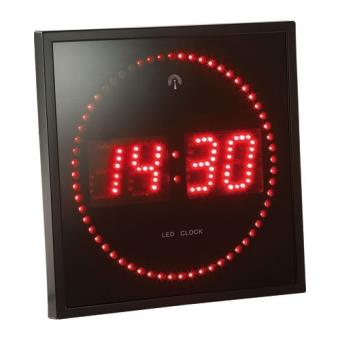 horloge digitale murale avec 60 led radiopilot e rouge pendule et horloge top prix fnac. Black Bedroom Furniture Sets. Home Design Ideas