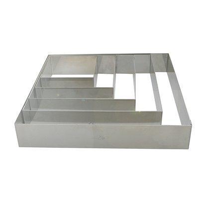 DeBuyer - Cercle à entremets carré en inox, Longueur 28 cm
