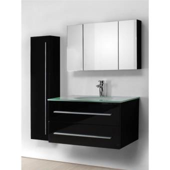 meuble salle de bain vasque en verre noir laqu avec colonne 90 cm noe noir installations. Black Bedroom Furniture Sets. Home Design Ideas