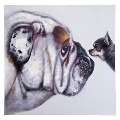 Tableau Peinture A L Huile Chihuahua Bulldog Anglais 80 X 80 Achat Prix Fnac
