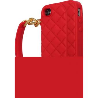 Coque pour Apple iPhone 4 4S Sac a main matelae silicone The Kase Rose