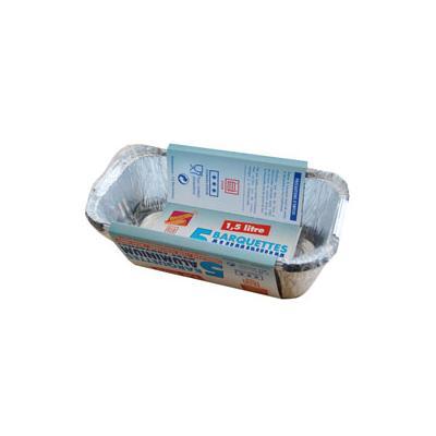 Barquette alu 1.5l + couv.x5 elbe