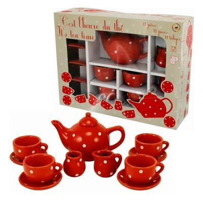 Dînette en porcelaine grand service de thé rouge a pois blanc pour enfant 3 ans+