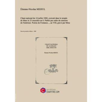 Partition De Musique Chant National Du 14 Juillet 1800