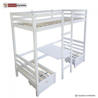 Lit Enfant Mezzanine Superpos Blanc 90x200 Pin Massif Bureau Lit