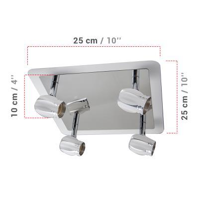 Applique Murale Led 4 Spots Led Gu10 5 W Avec Miroir Intégré Miroir
