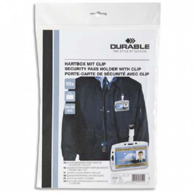 Pack de 10 Porte-cartes de sécurité à clip 5,4 x 8,5 cm - Dim. L10 x H7 x P0,5 cm transparent