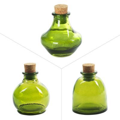 Flacon Deco Vert Assortis ( Lot De 3 )